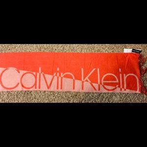 New Calvin Klein Spellout Logo Scarf Orange